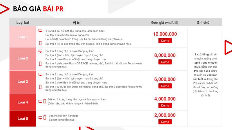 Báo giá đăng bài Pr, Booking quảng cáo trên Saostar