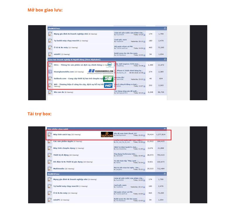 Báo giá đăng bài Pr, Booking quảng cáo trên Voz