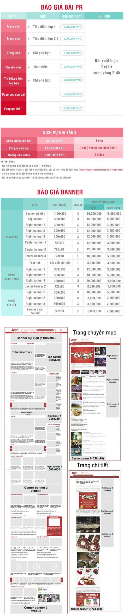 Báo giá đăng bài Pr, Booking quảng cáo trên Hoa học trò online