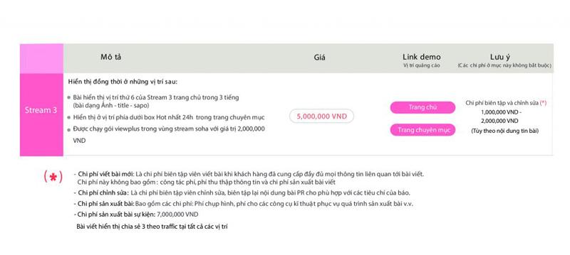Báo giá đăng bài Pr, Booking quảng cáo trên Soha.vn