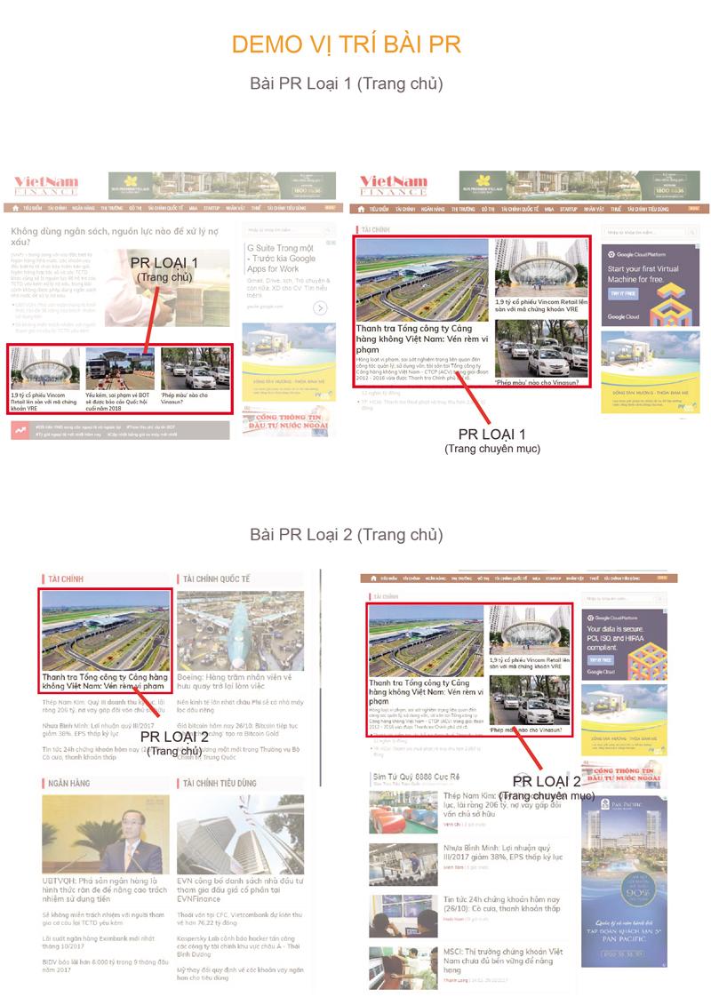 Báo giá đăng bài Pr, Booking quảng cáo trên vietnamfinance.vn
