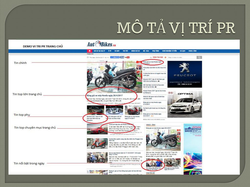 Báo giá đăng bài Pr, Booking quảng cáo trên Autobike.vn