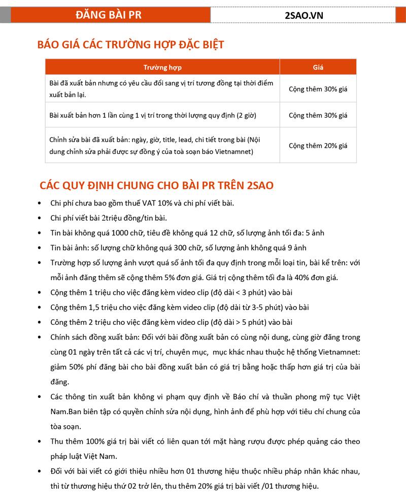 Báo giá đăng bài Pr, Booking quảng cáo trên 2Sao